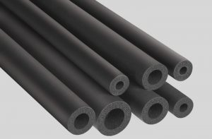 Tubes and sheets in flexible expanded rubber